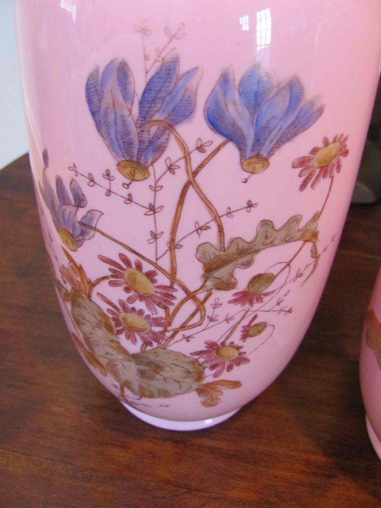 Victorian Bristol Art Glass Pair Aesthetic Floral Vases Wildrose