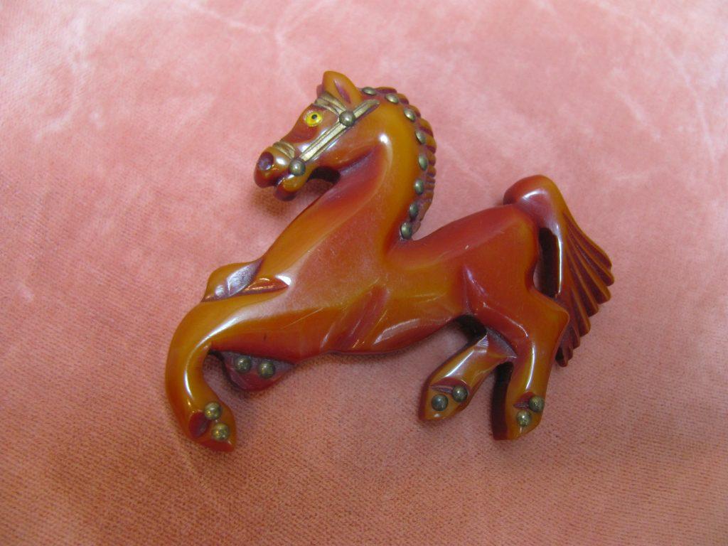 1930 S Carved Bakelite Horse Pin W Tiny Studs Wildrose