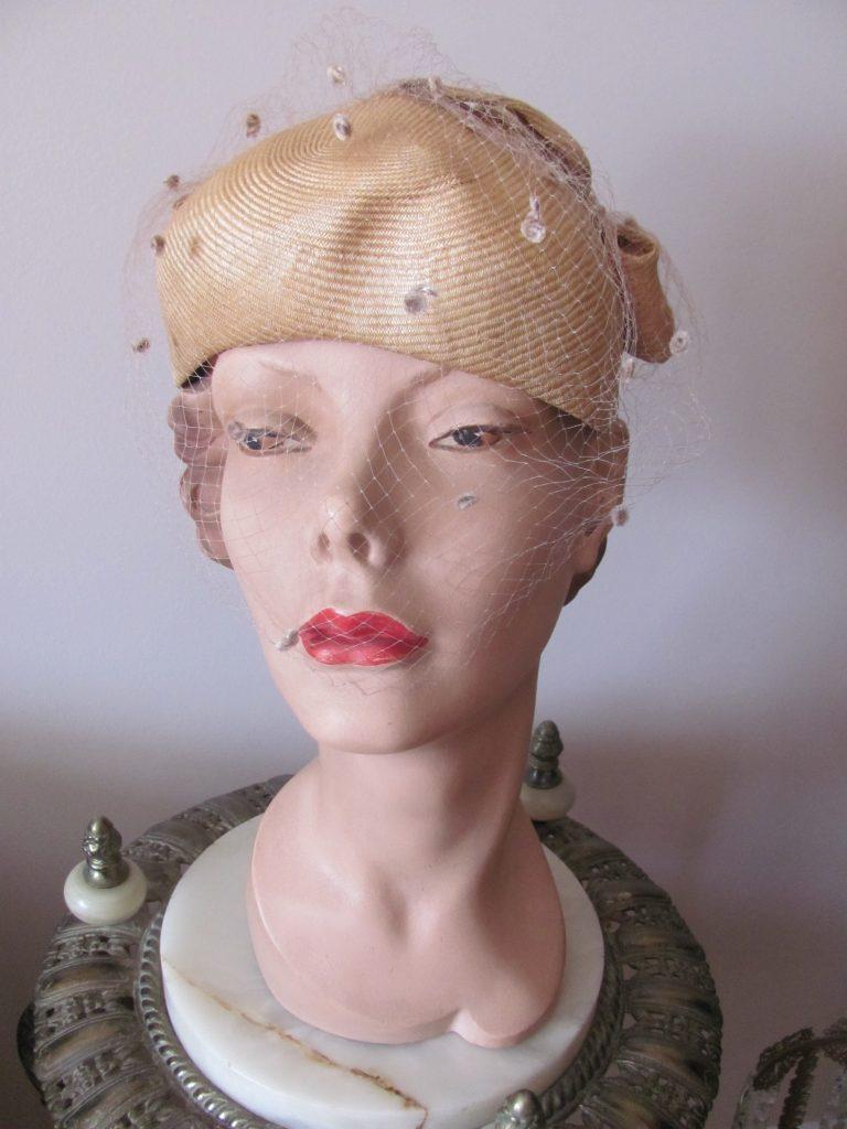 8205e1e3c4482 1950 s Deadstock JACK McCONNELL GLAZED STRAW EGGSHELL HAT w BOWS - Wildrose